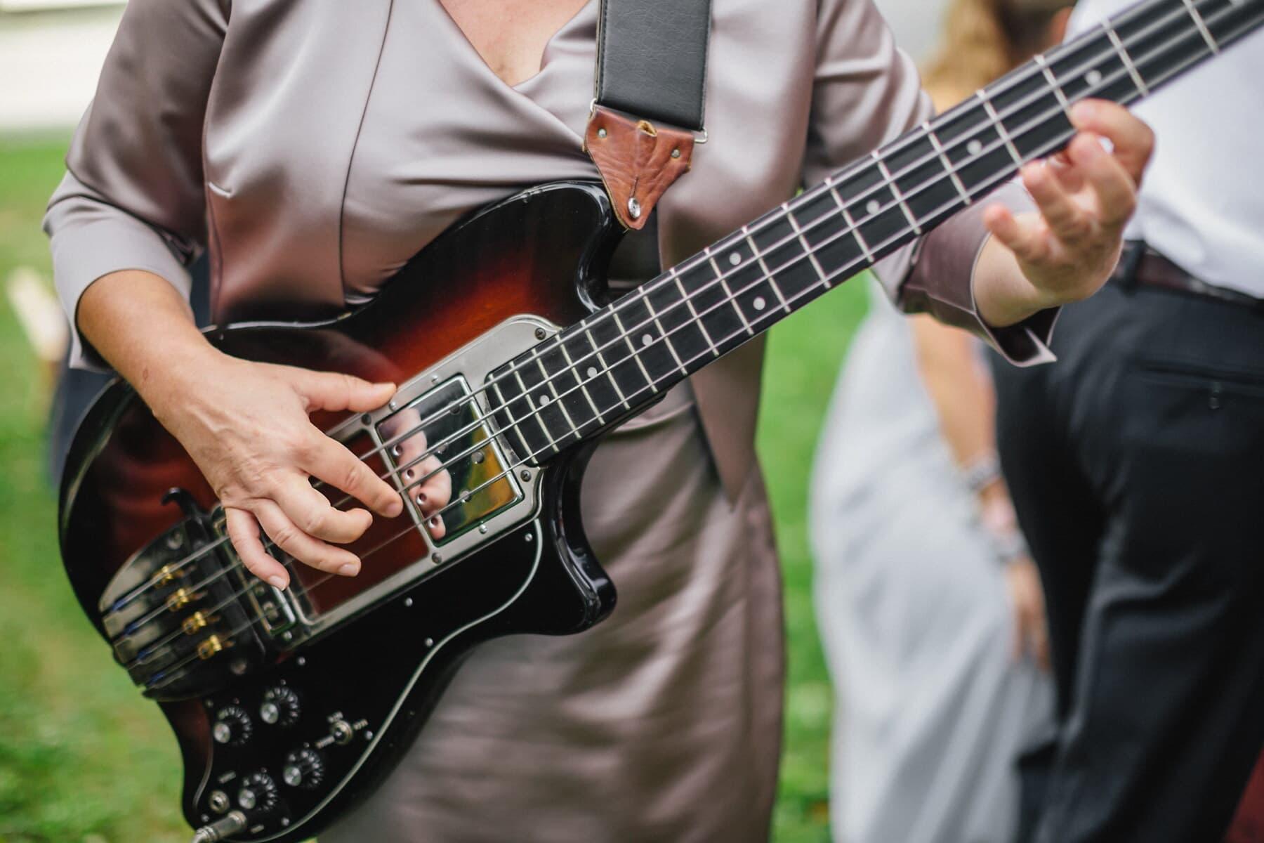 Elektronische, Gitarre, Gitarrist, Frau, Performer, musikalischen, Musik, Instrument, Musiker, Band