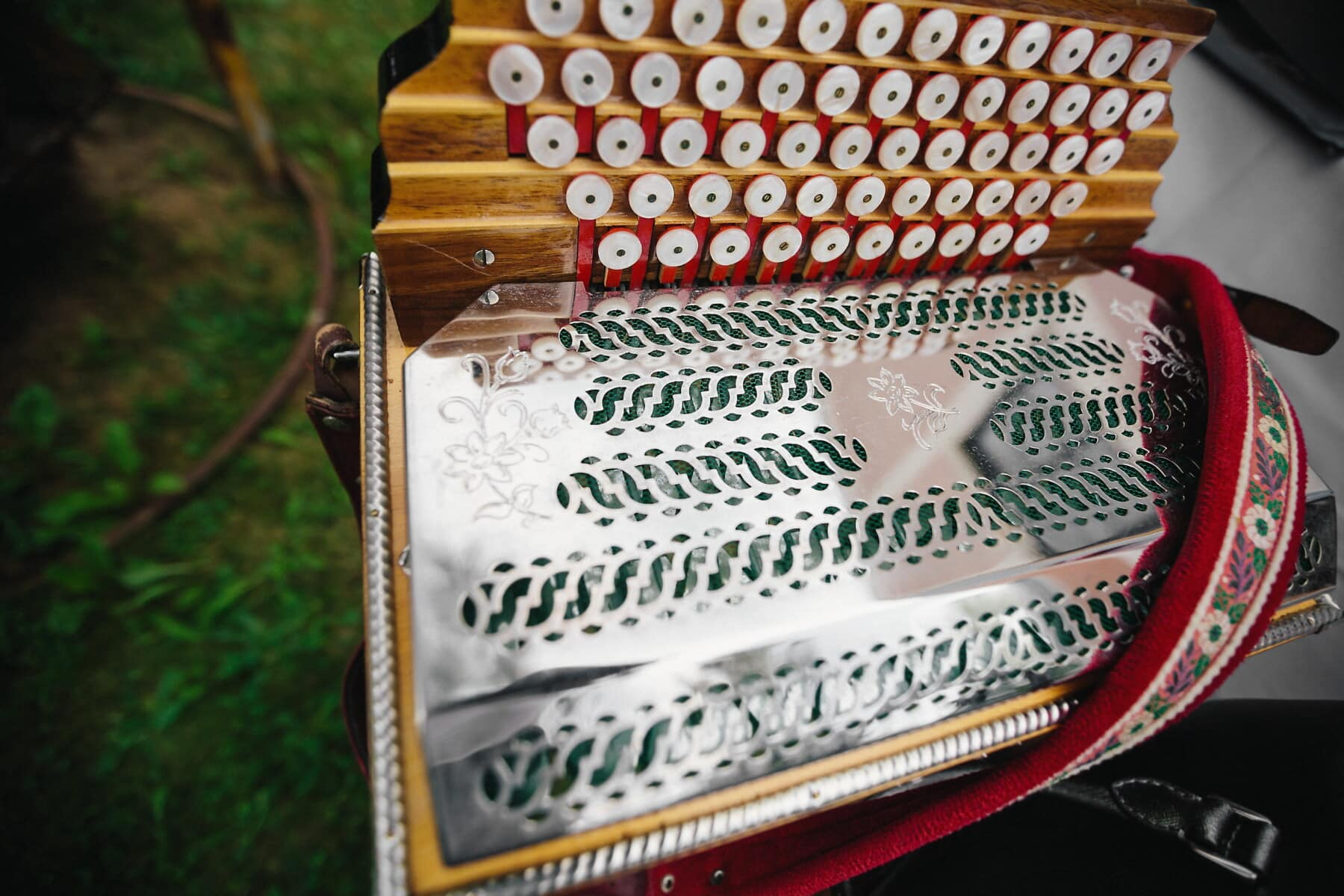 old fashioned, old, accordion, object, buttons, music, melody, metallic, stainless steel, wood