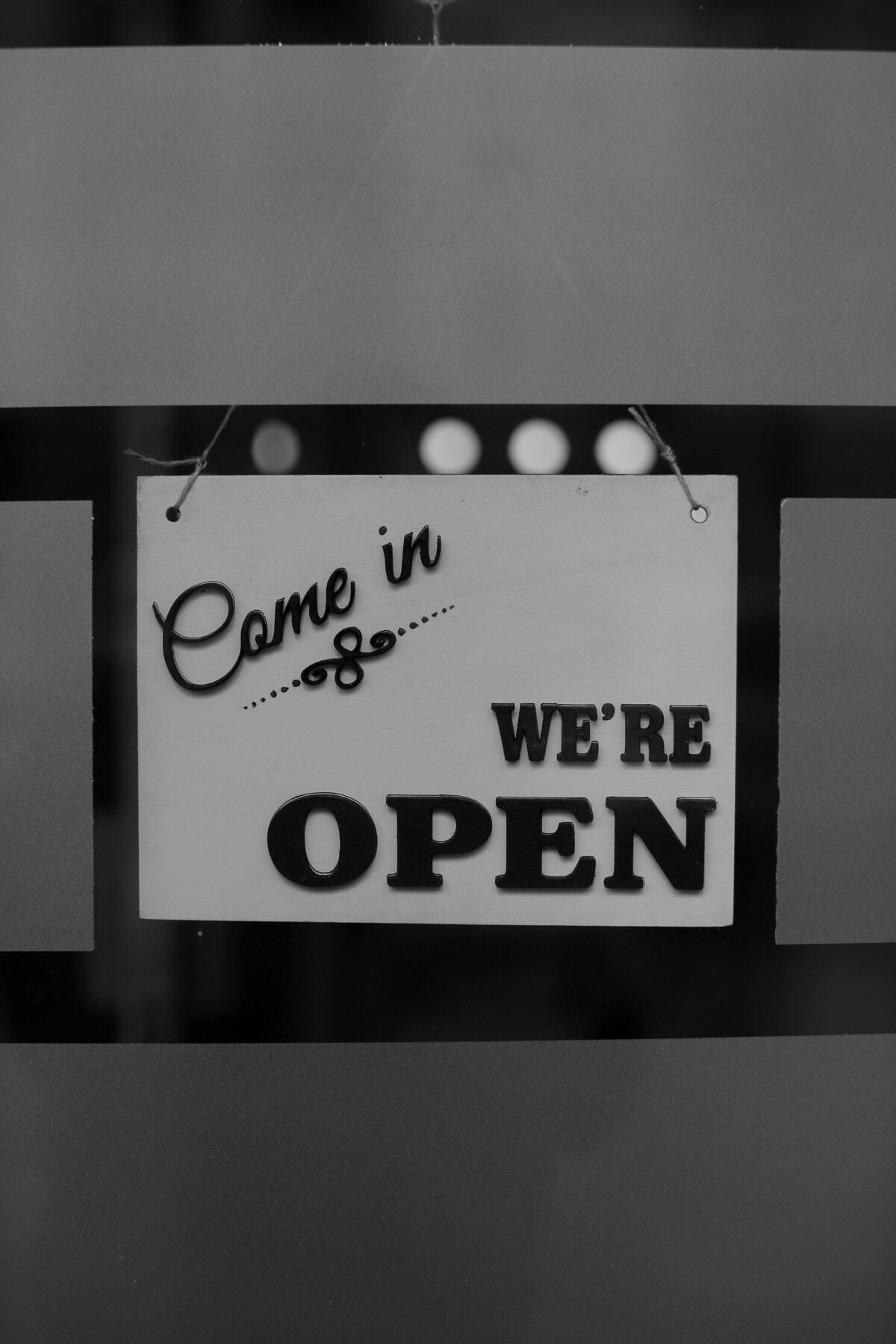 ouvrir, magasin, signe, texte, symbole, commercialisation, La publicité, Shopping, noir et blanc, monochrome