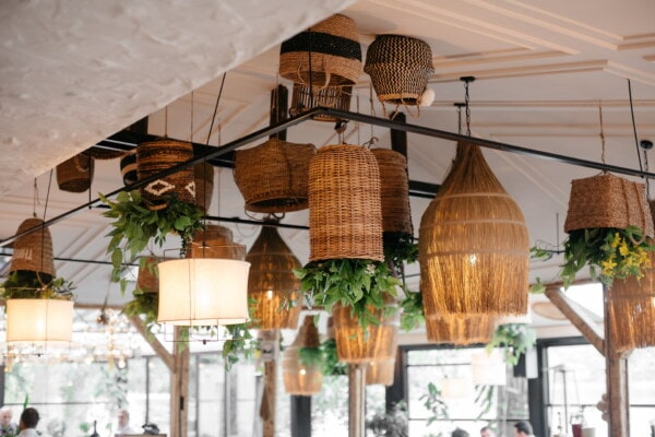 lantern, vintage, hanging, wicker basket, interior decoration, handmade, interior design, lamp, building, architecture