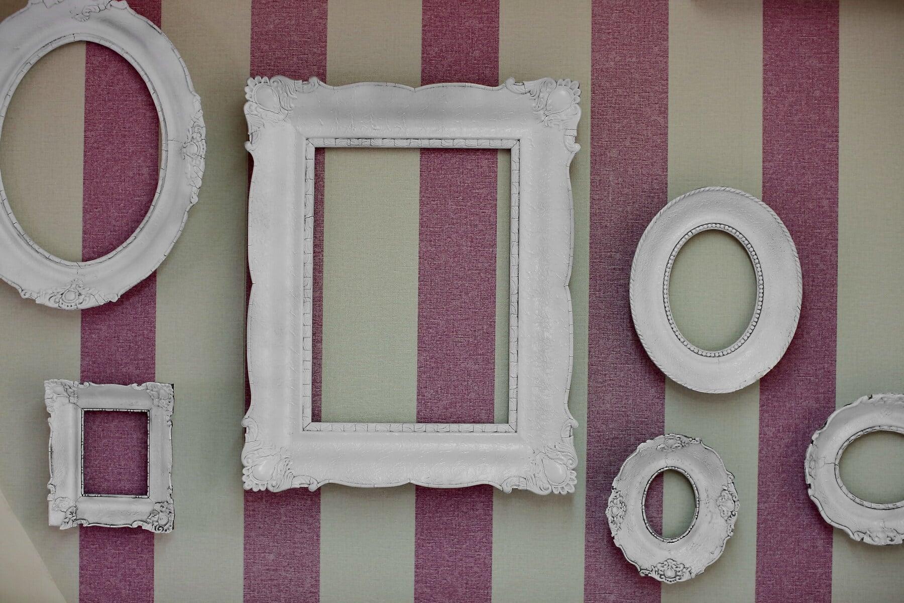 pinkish, wall, vintage, frame, design, framework, retro, antique, empty, decoration