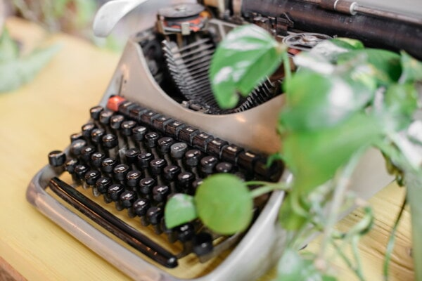typewriter, typography, machine, old fashioned, device, leaf, still life, retro, old, indoors