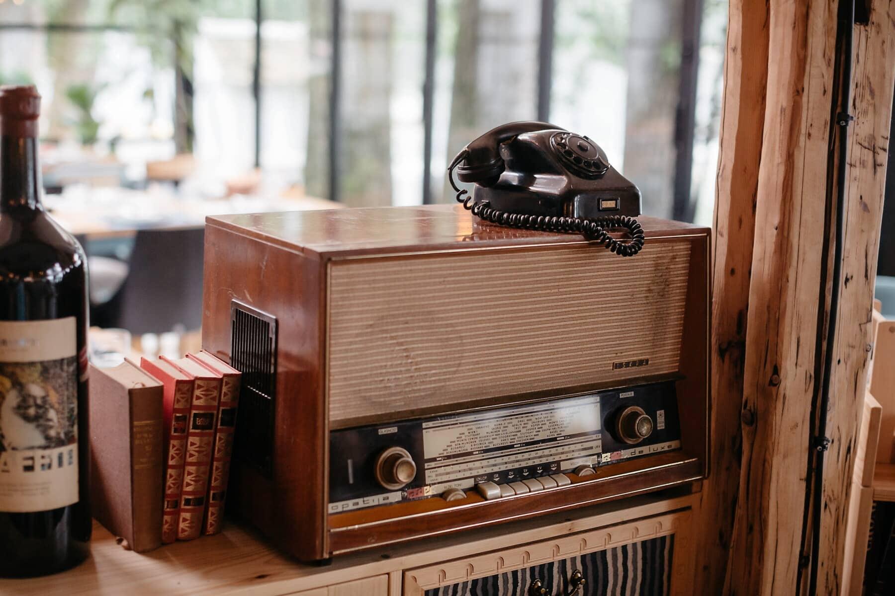 radio receiver, radio, vintage, telephone wire, telephone, nostalgia, bookshelf, wood, retro, old