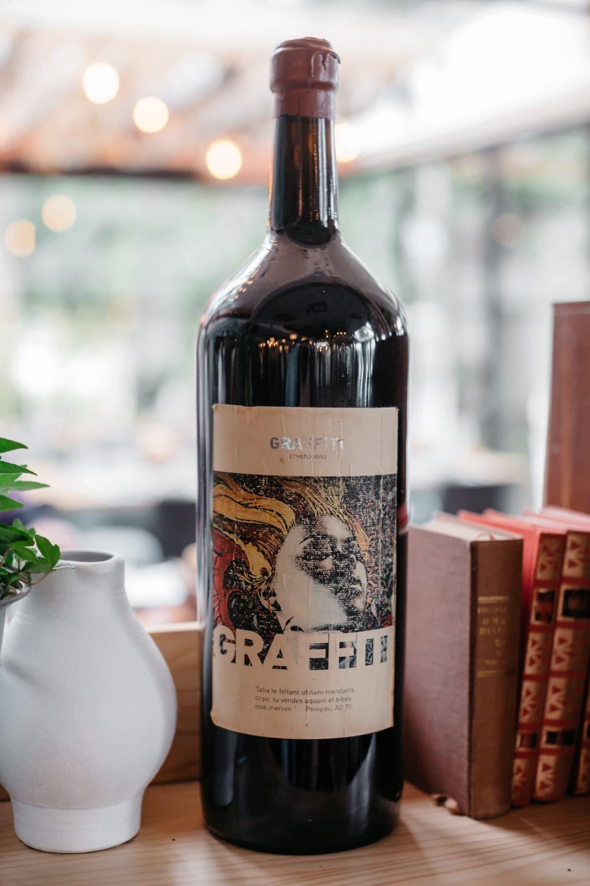 vin rouge, complet, bouteille, cafétéria, restaurant, bibliothèque, vin, boisson, liquide, boisson