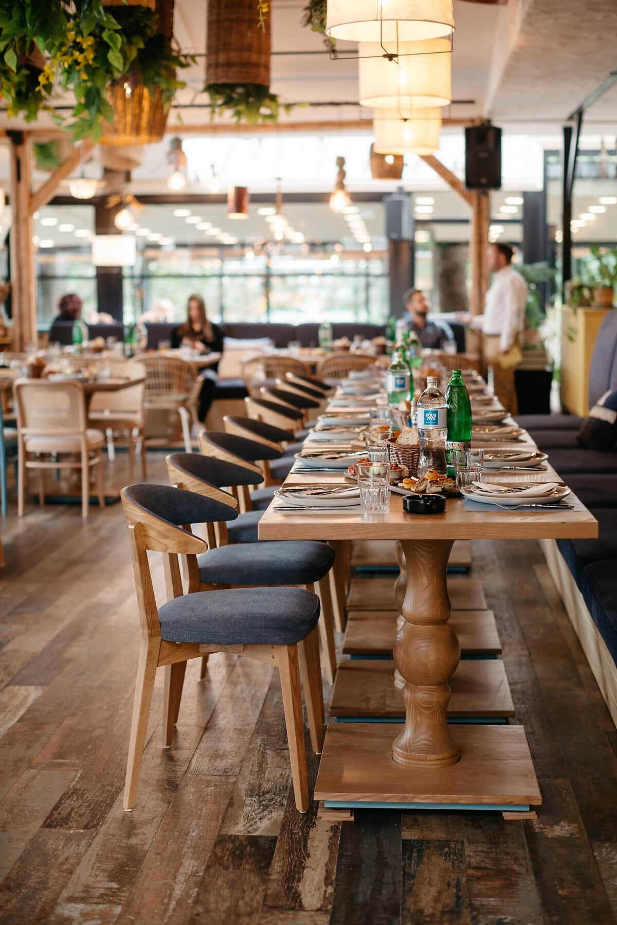 wooden, furniture, restaurant, people, tables, atmosphere, chairs, cafeteria, indoors, room