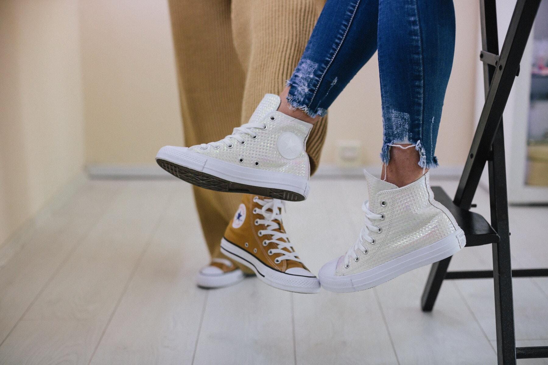white, fancy, sneakers, trendy, women, legs, pants, jeans, fashion, girl