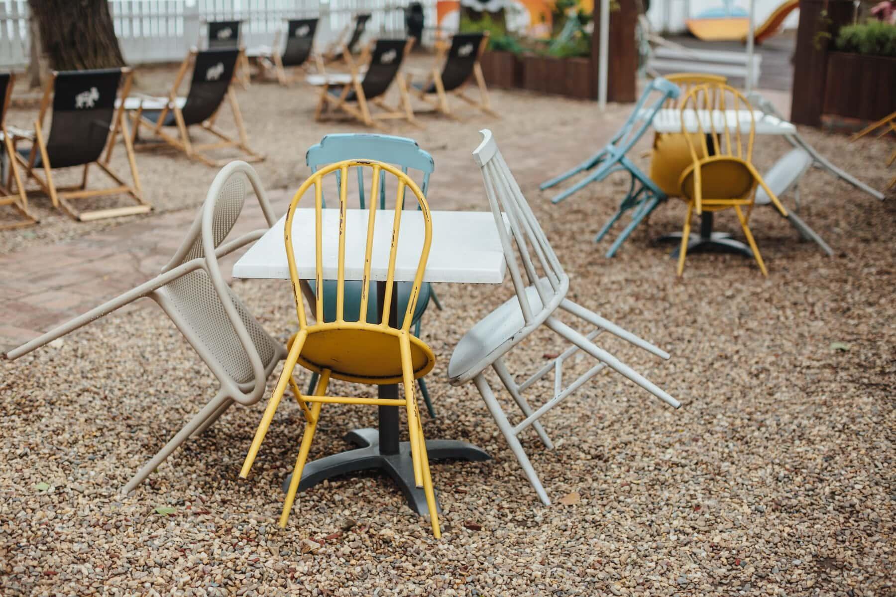ヴィンテージ, 金属, 裏庭, 椅子, 家具, 座席, 椅子, 夏, リラクゼーション, テーブル