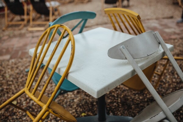 metal, table, chairs, colors, backyard, furniture, colorful, object, chair, seat