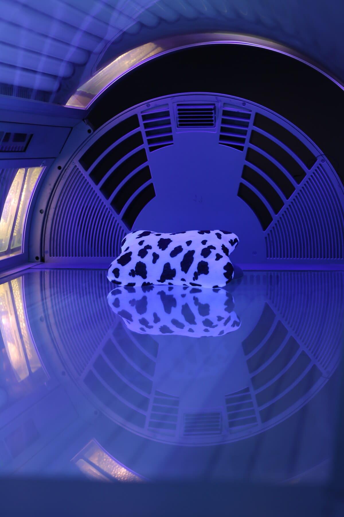 moderne, solarium, bed, licht, duisternis, kussen, gloeilamp, technologie, Futuristische, ontwerp