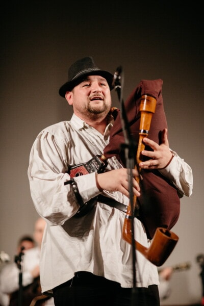 bagpipes, musician, musical, standing, portrait, man, music, person, concert, performance