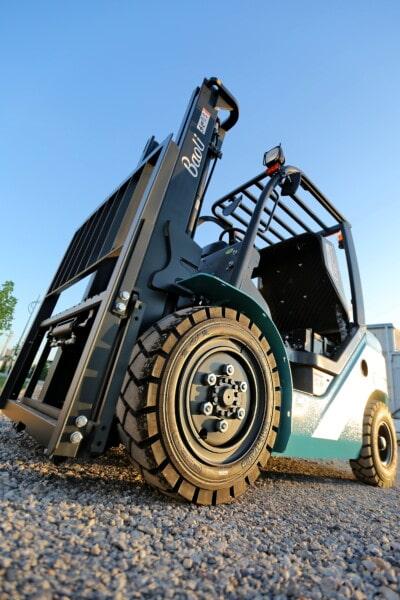gaffeltruck, maskine, tunge, industrielle, køretøj, fabrikken, dæk, maskiner, udendørs, diesel