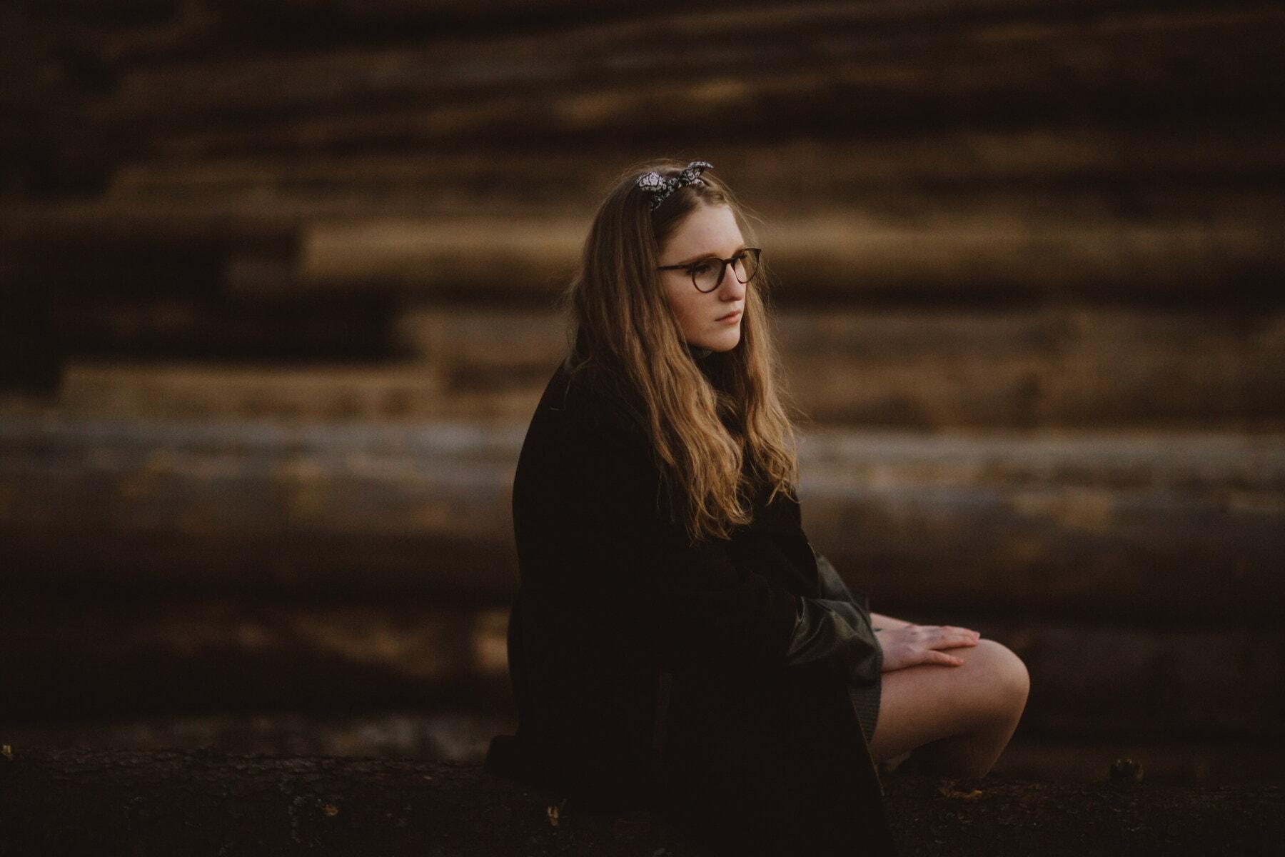 teenager, pretty girl, alone, sadness, nostalgia, depression, emotion, think, pretty, hair