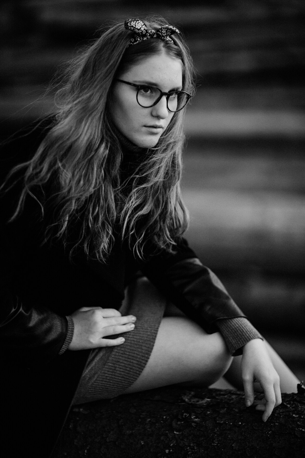 adolescent, Jolie fille, lunettes de vue, monochrome, portrait, noir, attrayant, jeune fille, personne, modèle