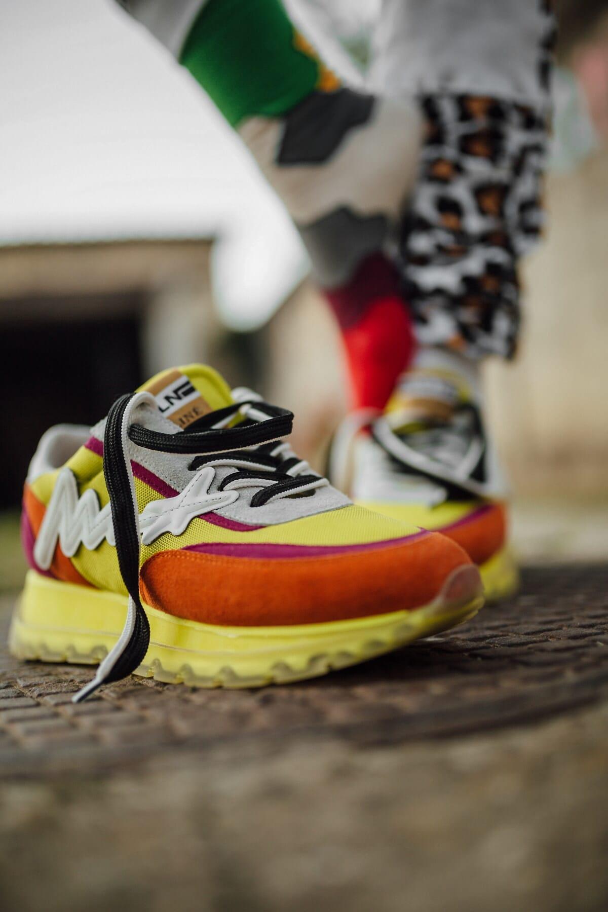 colorful, sneakers, legs, sock, footwear, foot, blur, fashion, woman, outdoors