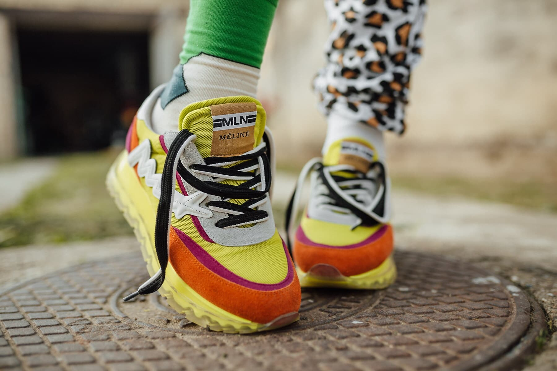 colorful, modern, sneakers, urban, pavement, manhole, foot, pair, clothing, shoe