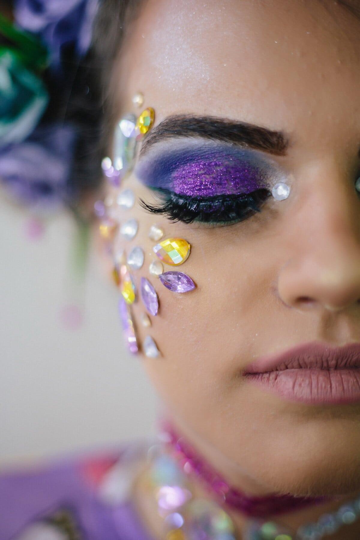 化粧, まつげ, 目, グラマー, 口紅, 顔, 間近, 唇, 縦方向, モデル