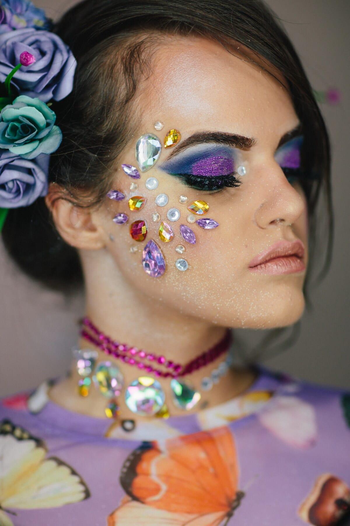 maquillage, cils, œil, lèvres, rouge à lèvres, bijou, peau, Jolie fille, adolescent, fantaisie