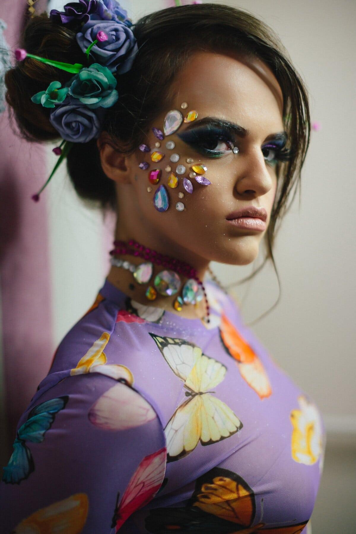 peau, visage, bijoux, bijou, mode, jeune femme, produit de beauté, maquillage, créativité, portrait