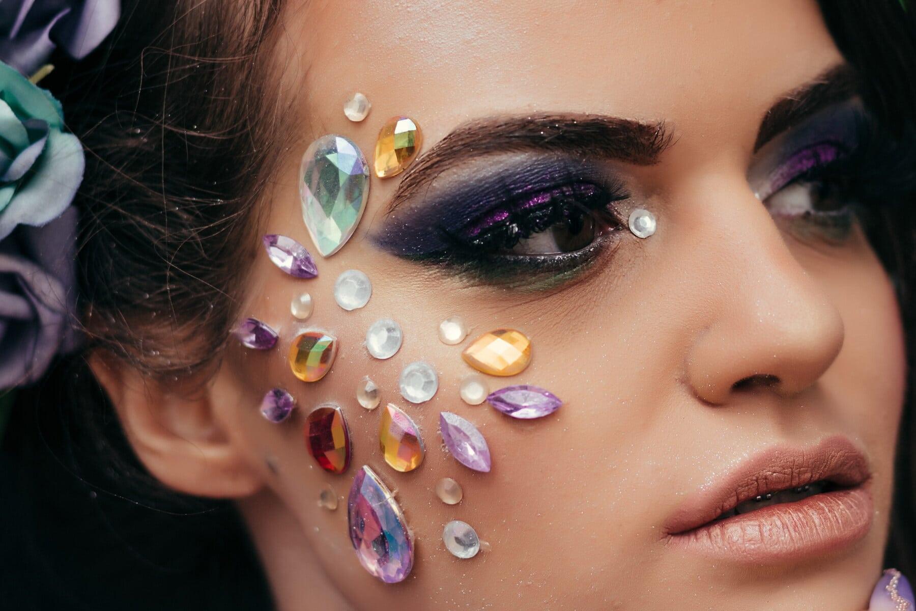 симпатична дівчина, помада, макіяж, вражаючі, мода, око, гламур, жінка, красивий, обличчя
