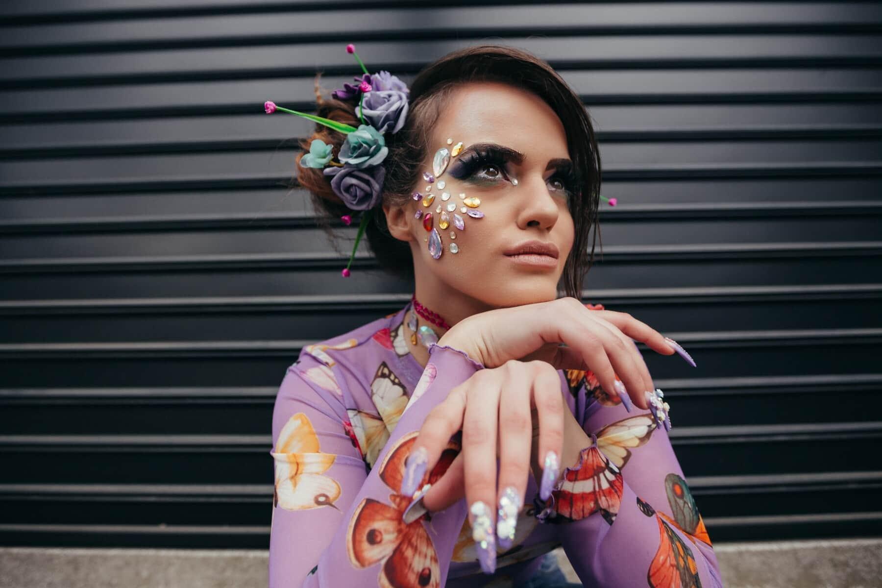 przepych, makijaż, lakier do paznokci, Biżuteria, portret, nastolatek, Kosmetyki, Ładna dziewczyna, fryzurę, mody