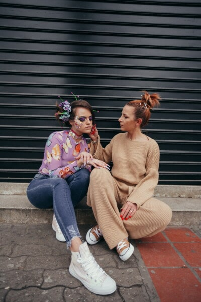girlfriend, girls, style, makeup, togetherness, fashion, outflow, fancy, hairstyle, girl