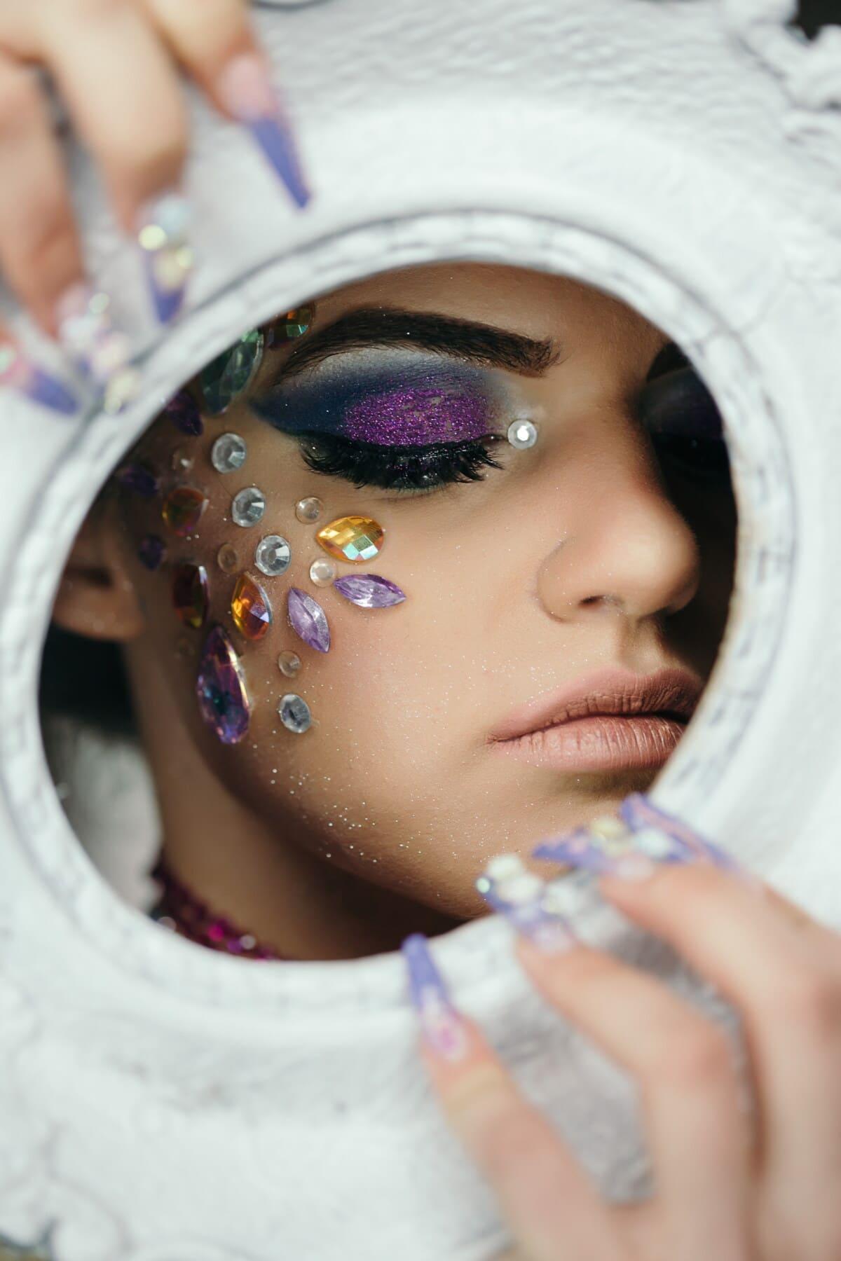 œil, cils, produits de beauté, maquillage, peau, bijou, bijoux, mode, lèvres, fermer