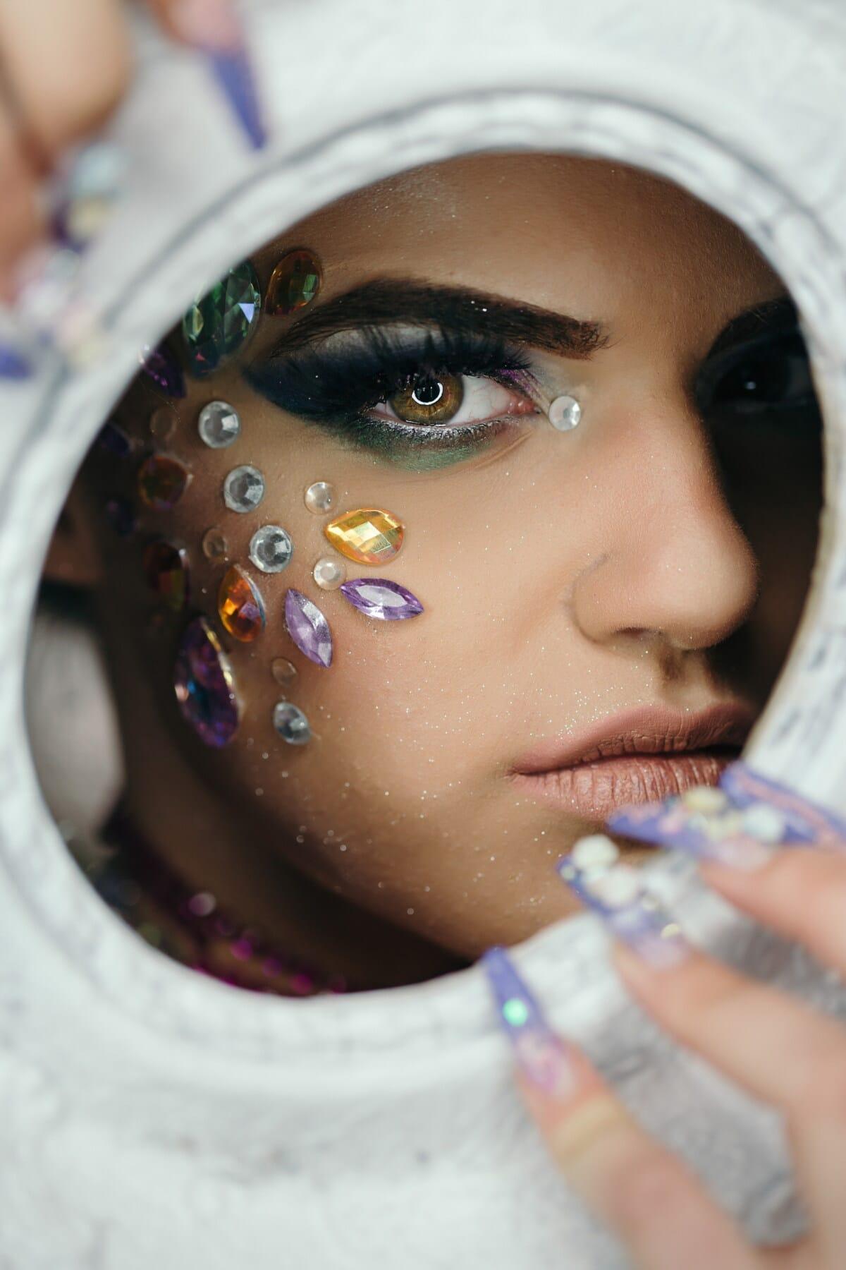 oko, riasy, koža, móda, kozmetiky, make-up, teenager, ozdobný, krásne dievča, dievča