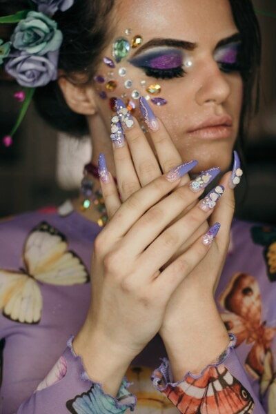 fancy, trendy, nail polish, young woman, hands, pretty girl, finger, woman, fashion, glamour
