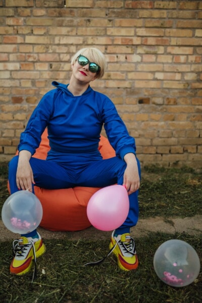 blue, outfit, sport, blonde hair, relaxation, sitting, young woman, girl, portrait, balloon