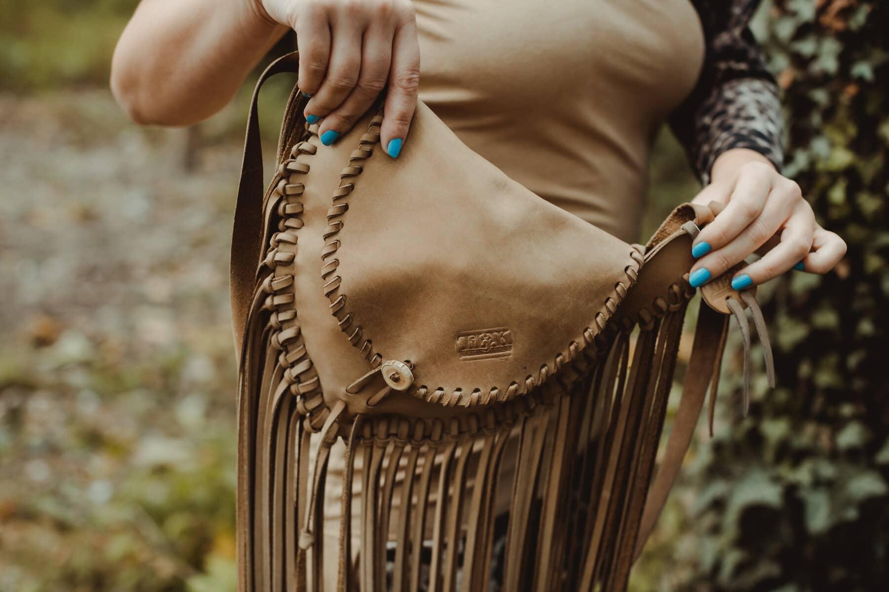 deri, el çantası, el yapımı, moda, açık kahverengi, kadın, doğa, açık havada, retro, oldukça