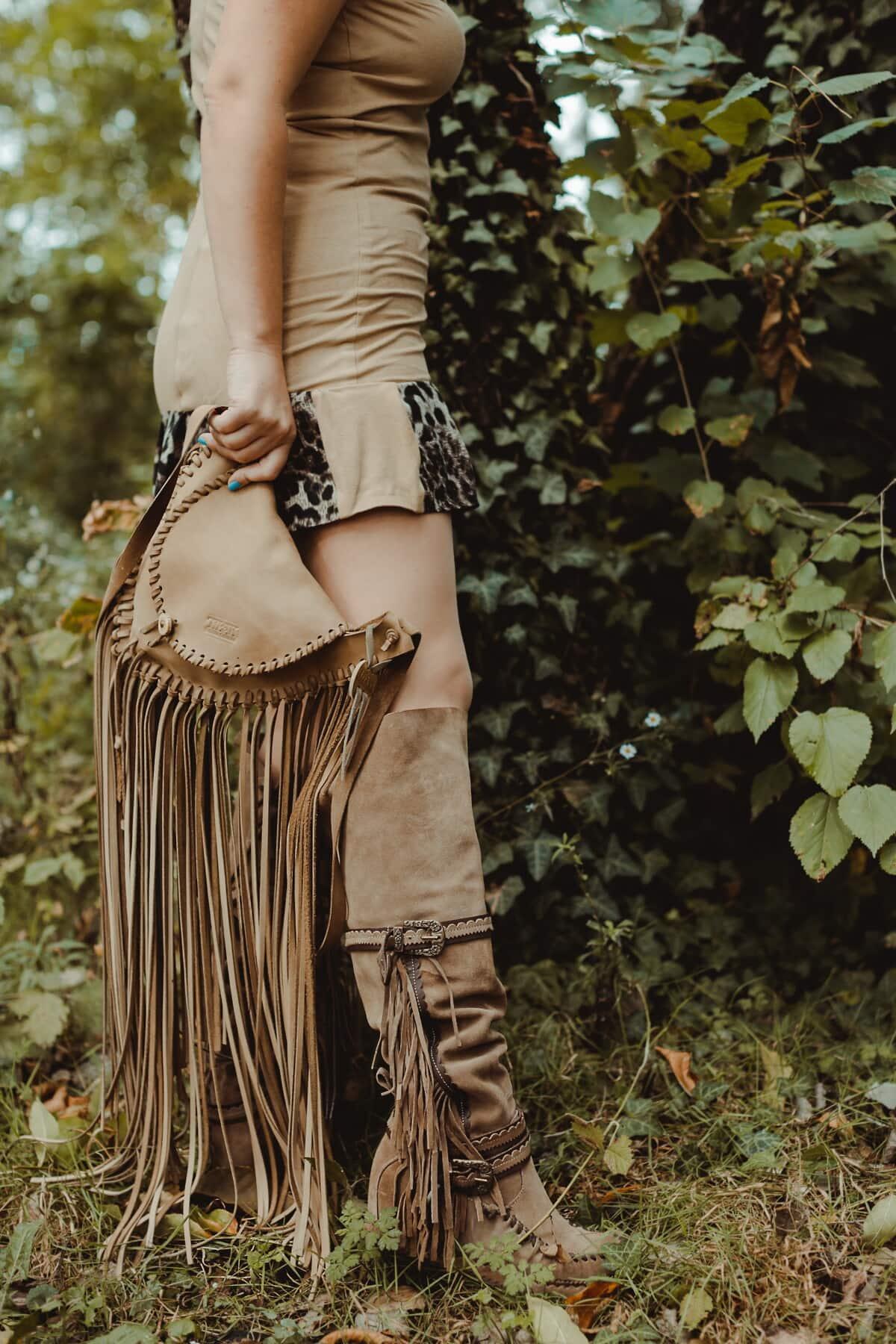 kulit, coklat, tas tangan, Sepatu bot, mewah, kuno, model tahun, mode, kaki, rok