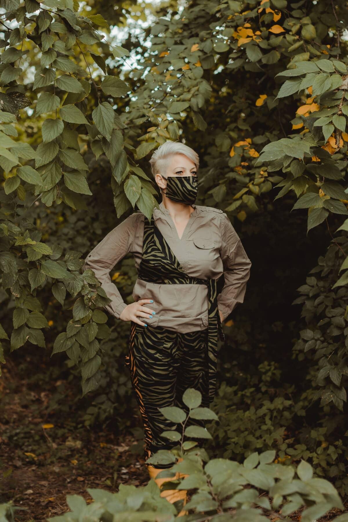 camouflage, mode, conception, masque visage, décontractée, confortable, arbre, feuille, modèle, art