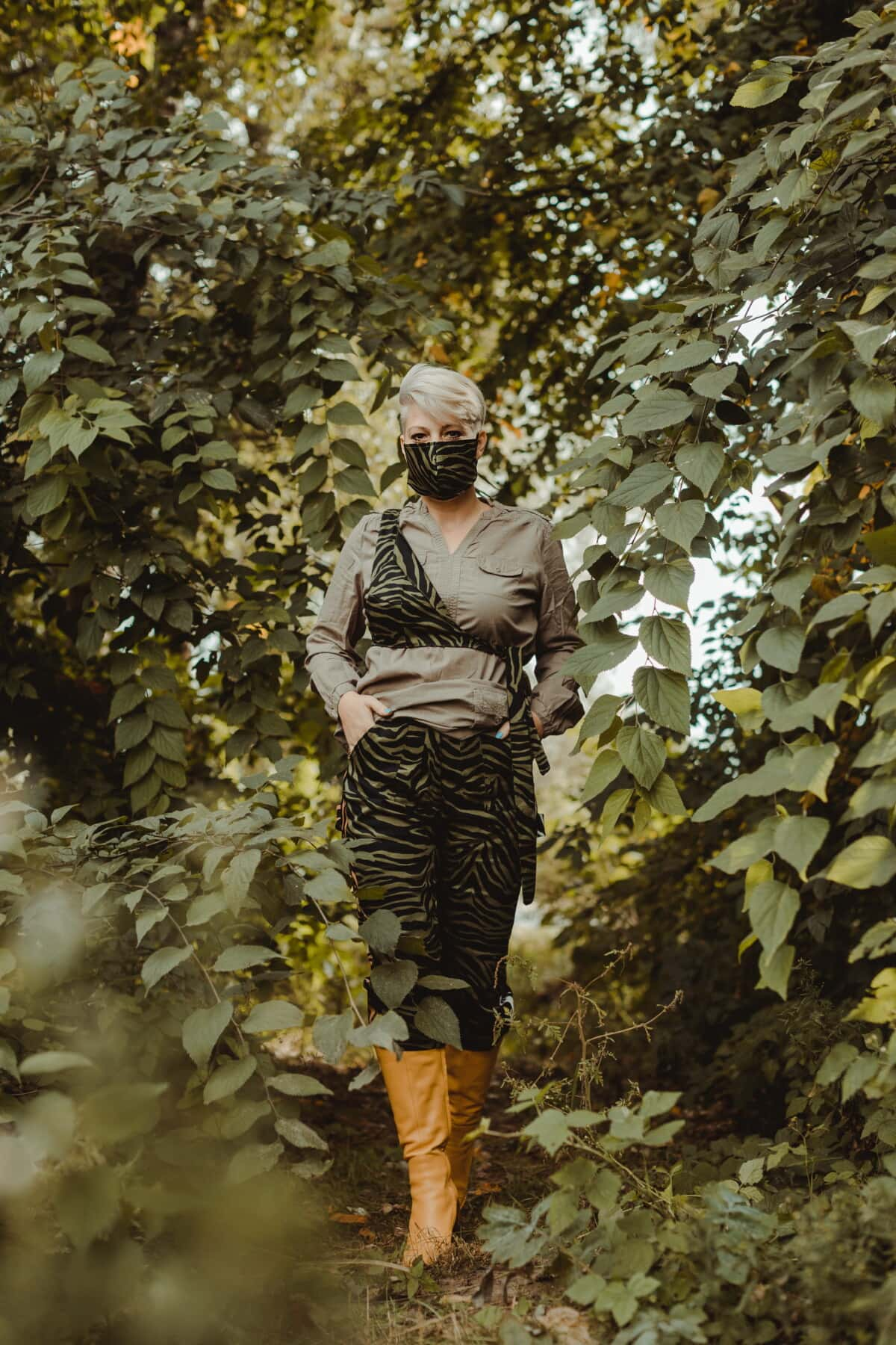 fashion, glamour, face mask, camouflage, forest, free style, comfortable, uniform, casual, young woman