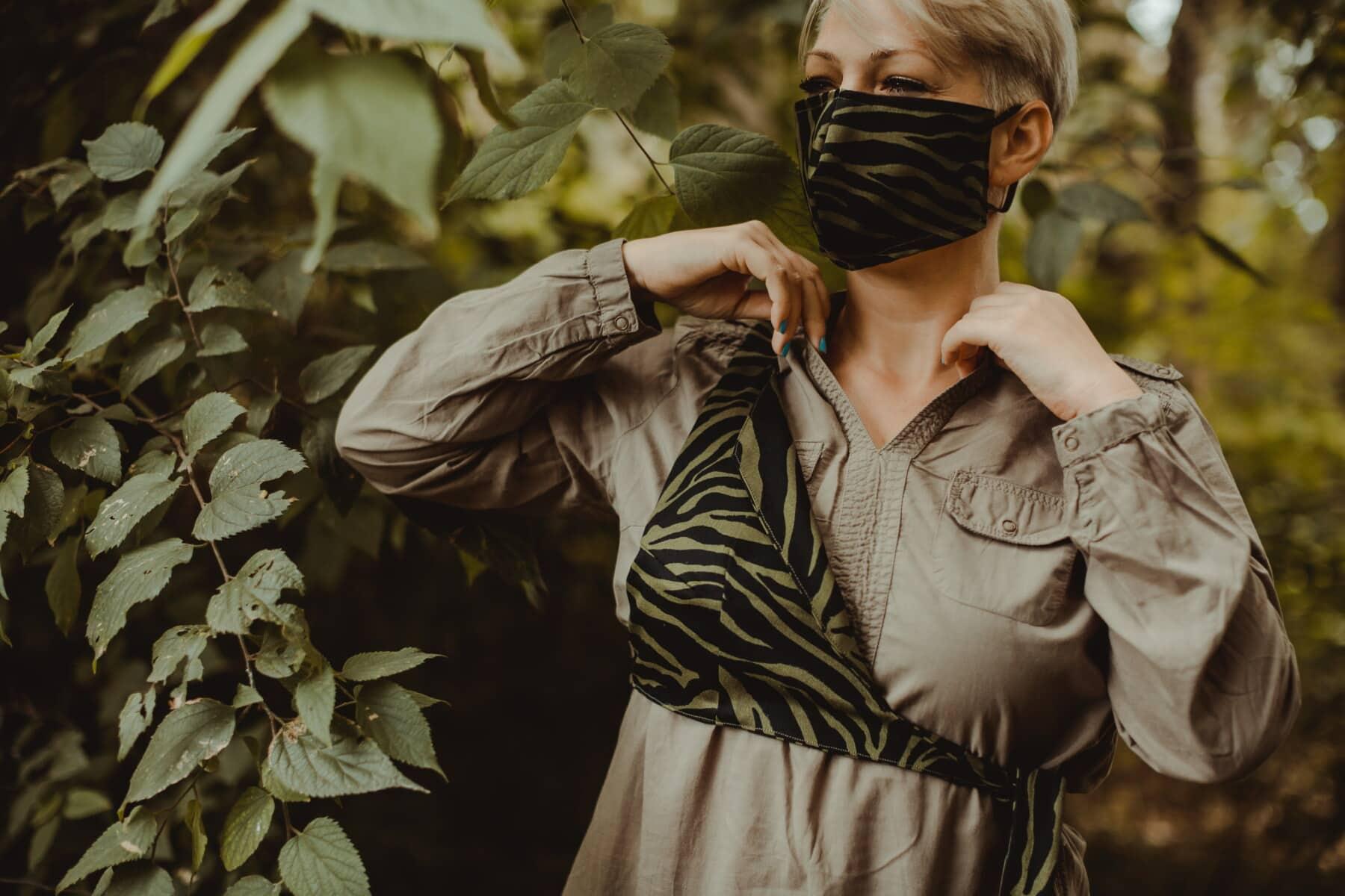 modern, pretty girl, fashion, face mask, uniform, camouflage, leaf, portrait, girl, nature