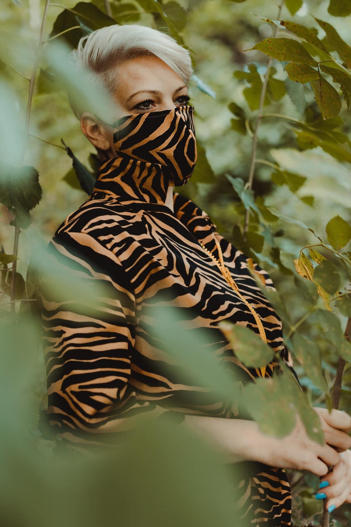 moderne, camouflage, mode, Outfit, masque visage, décontractée, nature, portrait, faune, animal