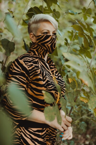 camouflage, fashion, design, colorful, face mask, hairstyle, free style, comfortable, blonde, outfit