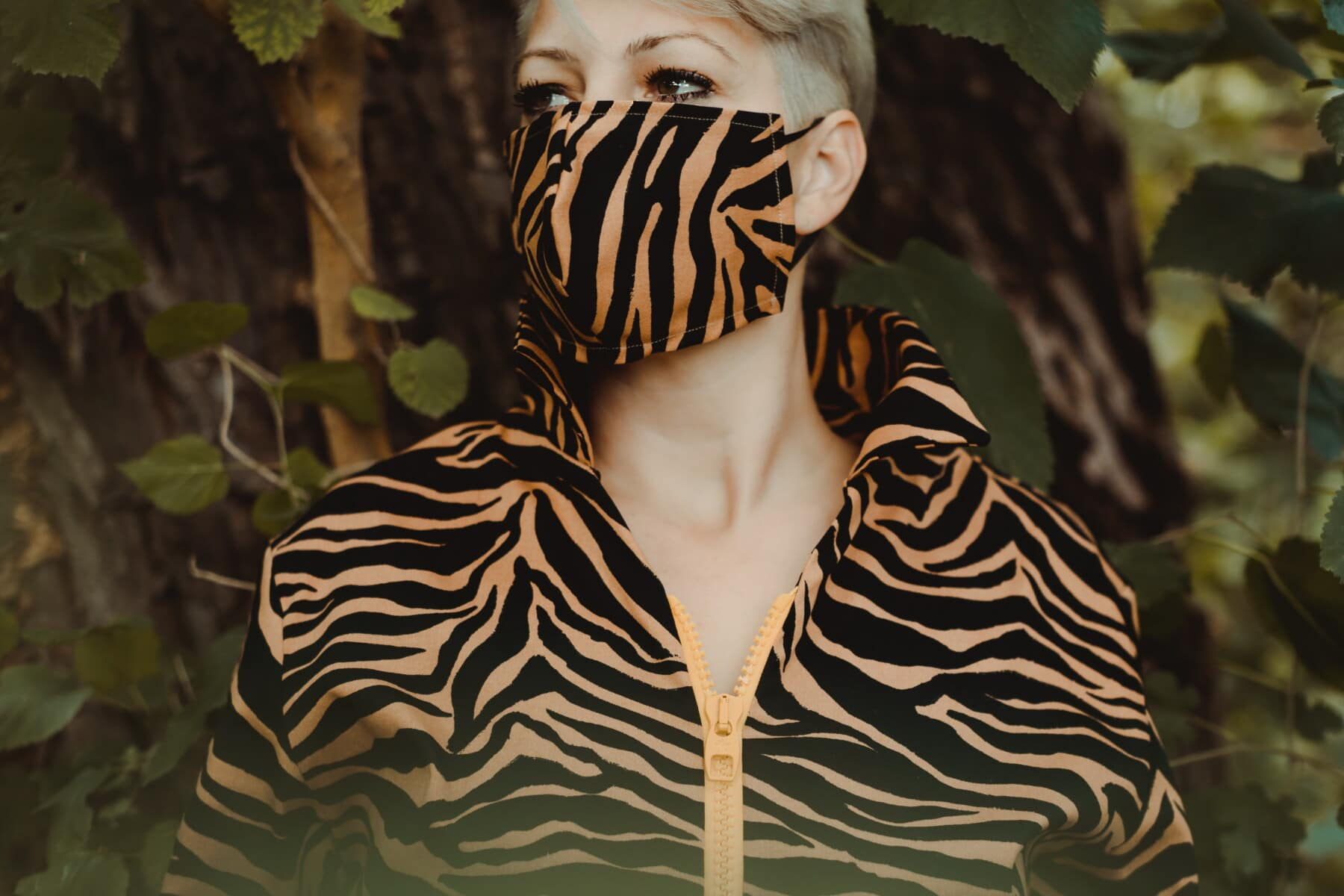 obličejová maska, moderní, oblečení, návrh, kamufláž, móda, koronavirus, COVID-19, příroda, portrét