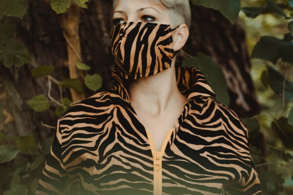 face mask, modern, outfit, design, camouflage, fashion, coronavirus, COVID-19, nature, portrait