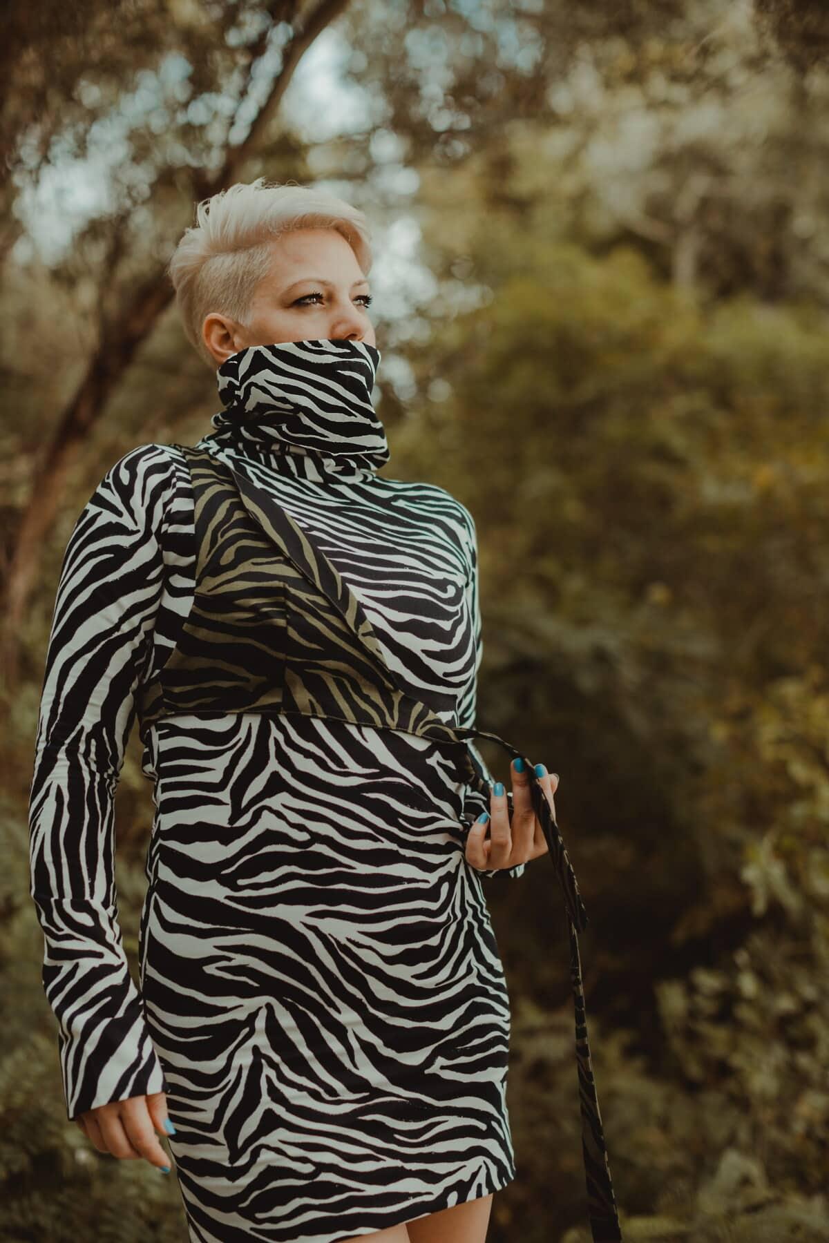 strój, czarno-białe, spódnica, mody, portret, natura, ludzie, na zewnątrz, dziewczyna, kobieta
