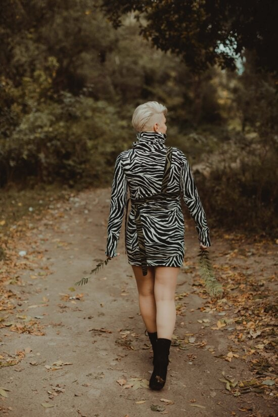 young woman, walking, alone, forest path, girl, portrait, model, fashion, people, woman