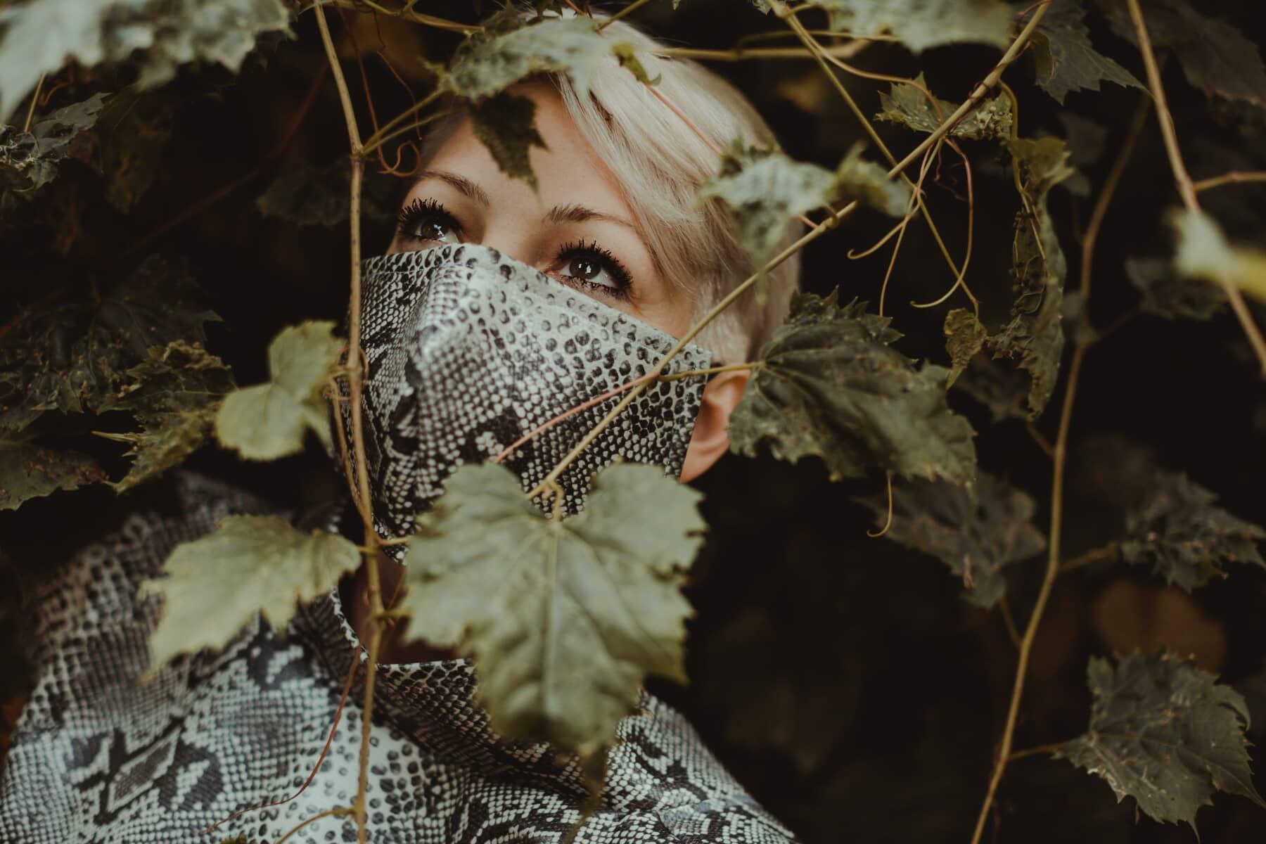 retrato, senhora, glamour, estilo, moda, facial máscara, moderna, folha, pessoas, Escuro