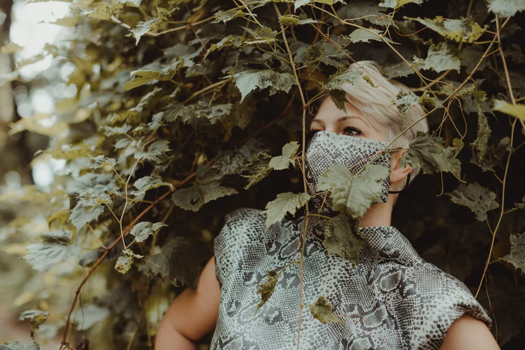 COVID-19, Lust auf, Gesichtsmaske, Glanz, Outfit, Mode, Design, Blatt, Struktur, Holz