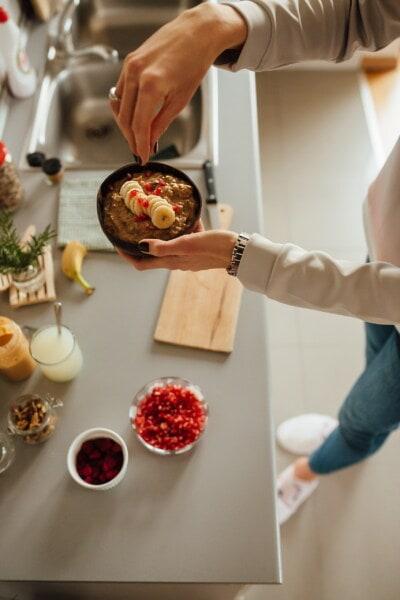 здоровые, завтрак, банан, помещении, питание, приготовление пищи, женщина, ингредиенты, шеф-повар, обед
