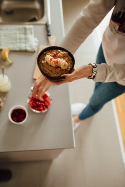 voće, zdravo, banana, doručak, unutarnji prostor, žena, hrana, kuhanje, pečenje, kuhar