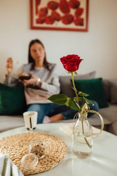 красный, ваза, бутылка, гостиная, помещении, чай, женщина, стол, элегантный, завтрак