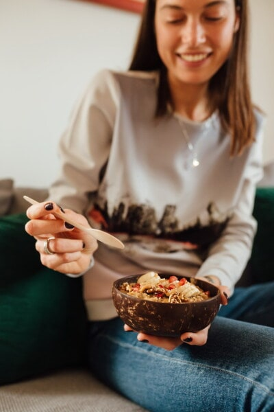 muesli, oatmeal, breakfast, pretty girl, young woman, woman, indoors, people, girl, enjoyment