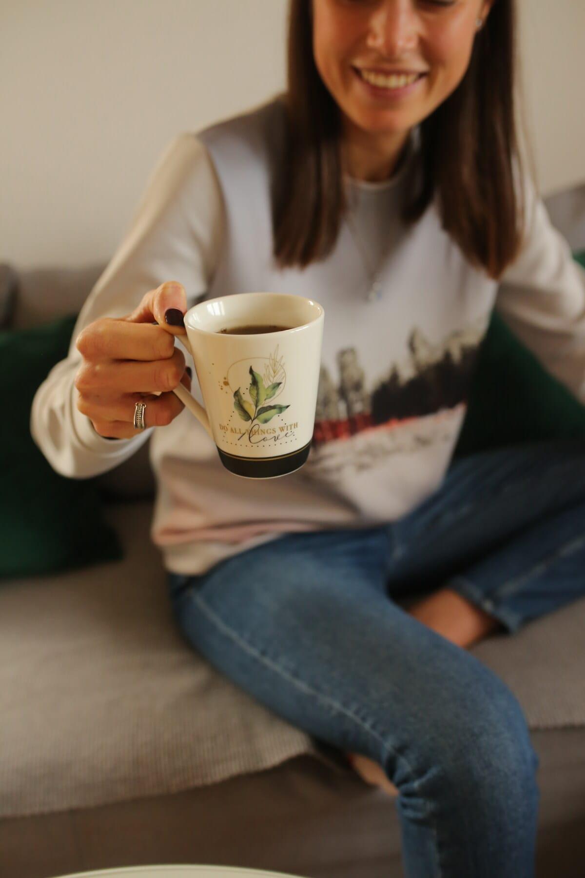 tea, mug, morning, young woman, aroma, breakfast, cup, woman, beverage, drink