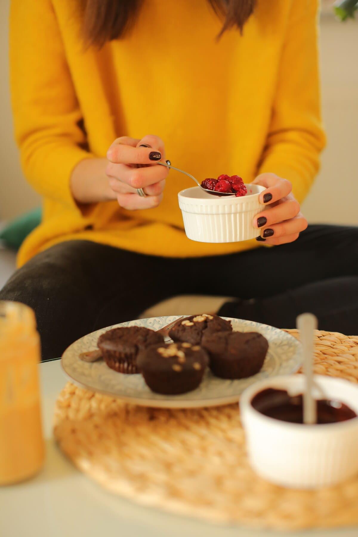 berries, cupcake, breakfast, food, meal, chocolate, indoors, woman, sugar, tea