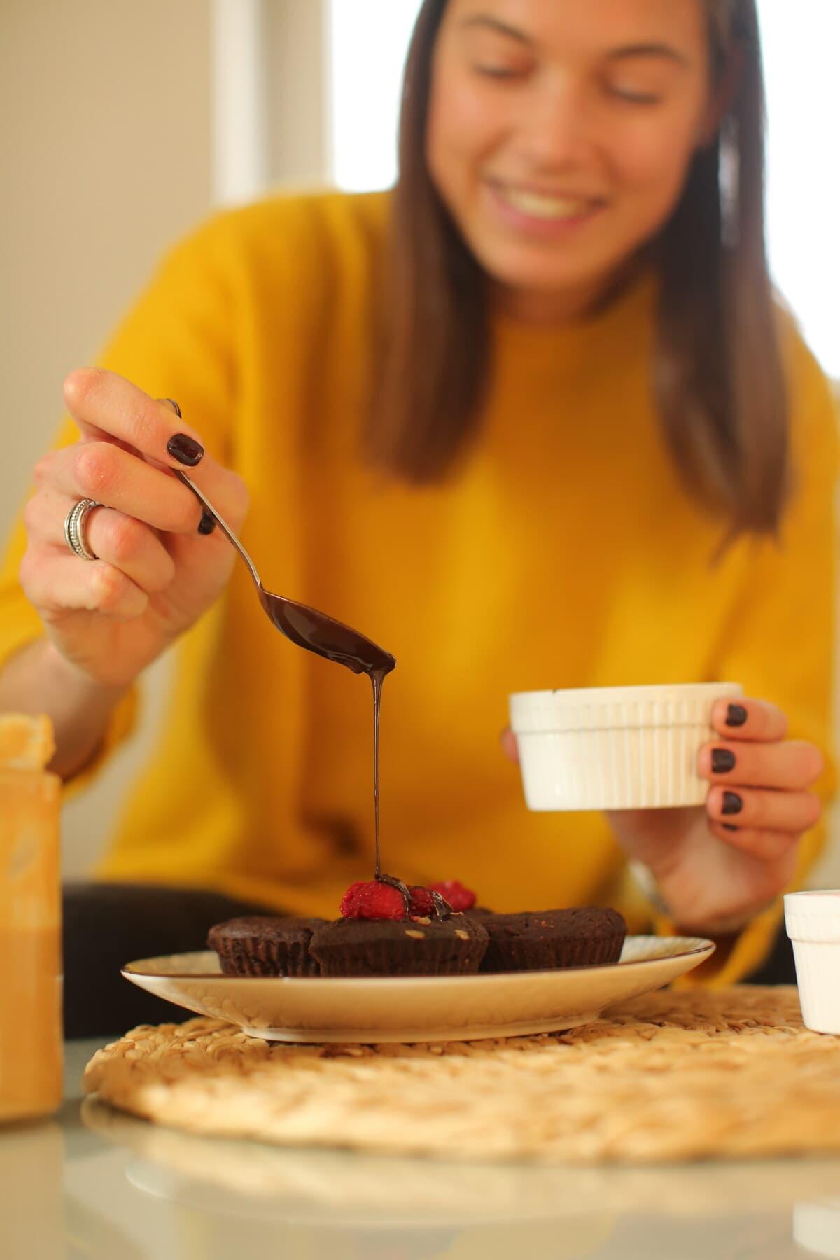 Schokolade, süß, heiß, Cupcake, drinnen, Frühstück, Frau, Backen, Dämmerung, Familie