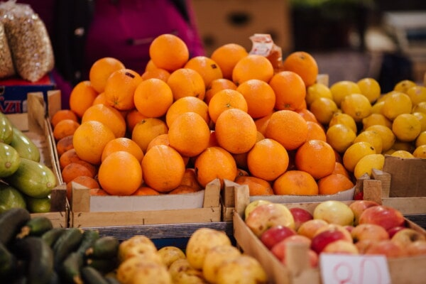 marketplace, oranges, apples, cucumber, basket, lemon, merchandise, shopkeeper, products, market
